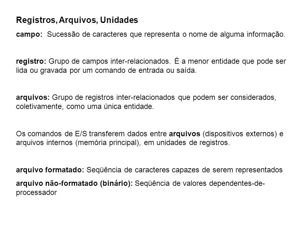 Registros, Arquivos, Unidades campo: Sucessão de caracteres que representa o nome de alguma informação.