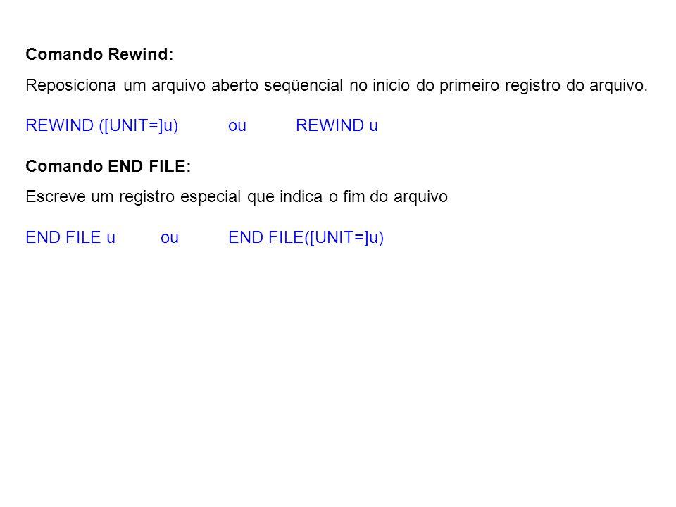 Comando Rewind: Reposiciona um arquivo aberto seqüencial no inicio do primeiro registro do arquivo.