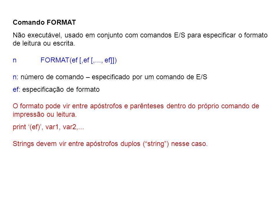 Comando FORMAT Não executável, usado em conjunto com comandos E/S para especificar o formato de leitura ou escrita.