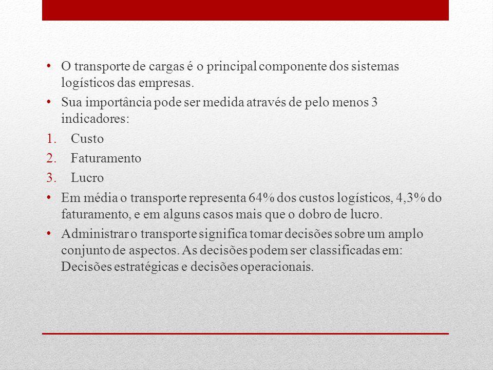 O transporte de cargas é o principal componente dos sistemas logísticos das empresas. Sua importância pode ser medida através de pelo menos 3 indicado