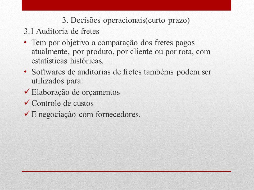 3. Decisões operacionais(curto prazo) 3.1 Auditoria de fretes Tem por objetivo a comparação dos fretes pagos atualmente, por produto, por cliente ou p