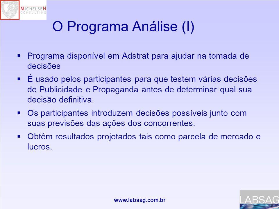 www.labsag.com.br O Programa Análise (I)  Programa disponível em Adstrat para ajudar na tomada de decisões  É usado pelos participantes para que testem várias decisões de Publicidade e Propaganda antes de determinar qual sua decisão definitiva.