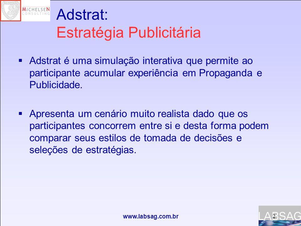 www.labsag.com.br Adstrat: Estratégia Publicitária  Adstrat é uma simulação interativa que permite ao participante acumular experiência em Propaganda e Publicidade.