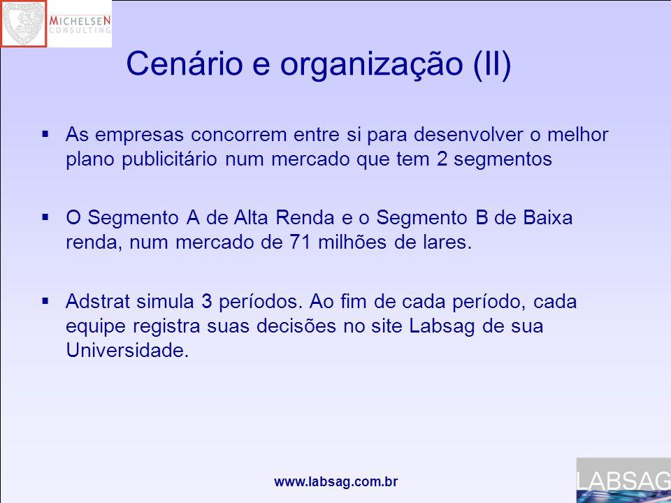 www.labsag.com.br Cenário e organização (II)  As empresas concorrem entre si para desenvolver o melhor plano publicitário num mercado que tem 2 segmentos  O Segmento A de Alta Renda e o Segmento B de Baixa renda, num mercado de 71 milhões de lares.