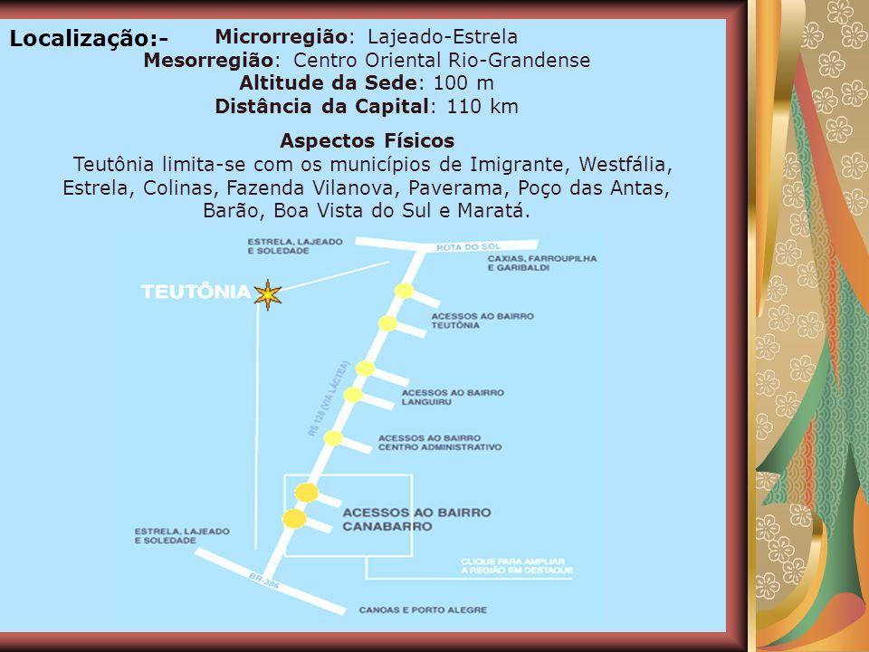 O relevo do município é marcado por áreas onduladas. A maior altitude é de 600 metros, no Morro da Harmonia. O clima é subtropical. O território do mu