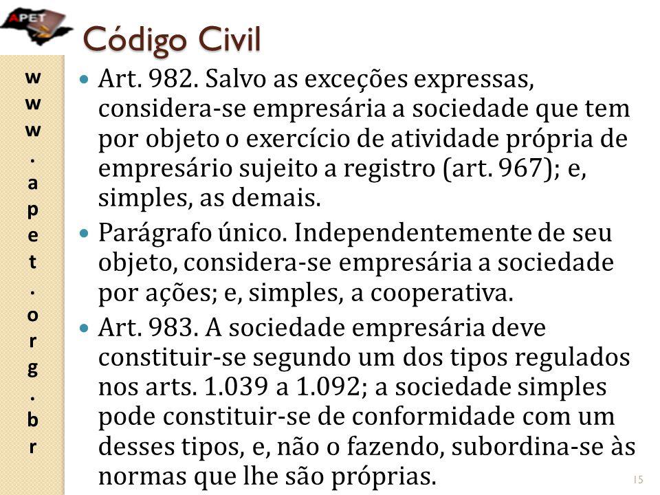 www.apet.org.brwww.apet.org.br Código Civil Art. 982. Salvo as exceções expressas, considera-se empresária a sociedade que tem por objeto o exercício