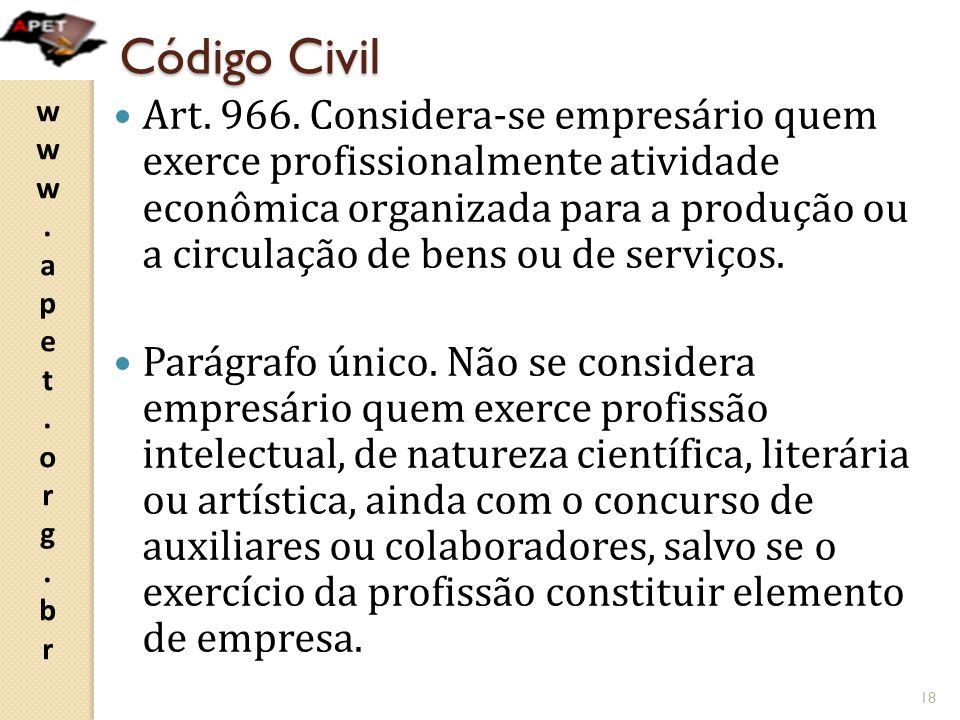 www.apet.org.brwww.apet.org.br Código Civil Art. 966. Considera-se empresário quem exerce profissionalmente atividade econômica organizada para a prod