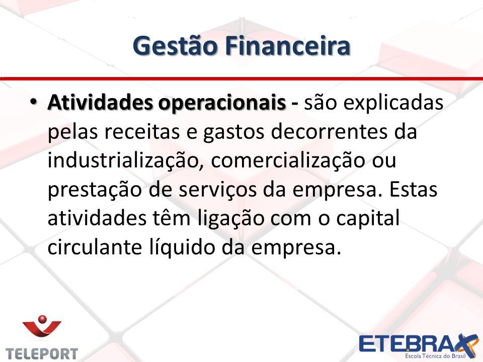 Gestão Financeira Atividades operacionais Atividades operacionais - são explicadas pelas receitas e gastos decorrentes da industrialização, comerciali