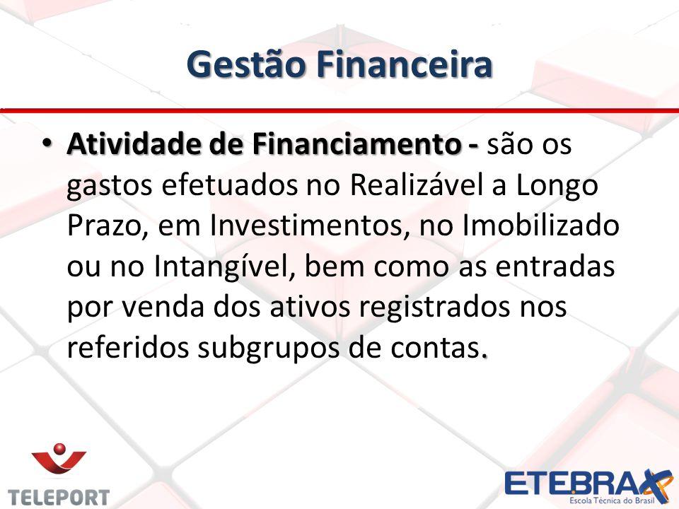 Gestão Financeira Atividade de Financiamento -. Atividade de Financiamento - são os gastos efetuados no Realizável a Longo Prazo, em Investimentos, no
