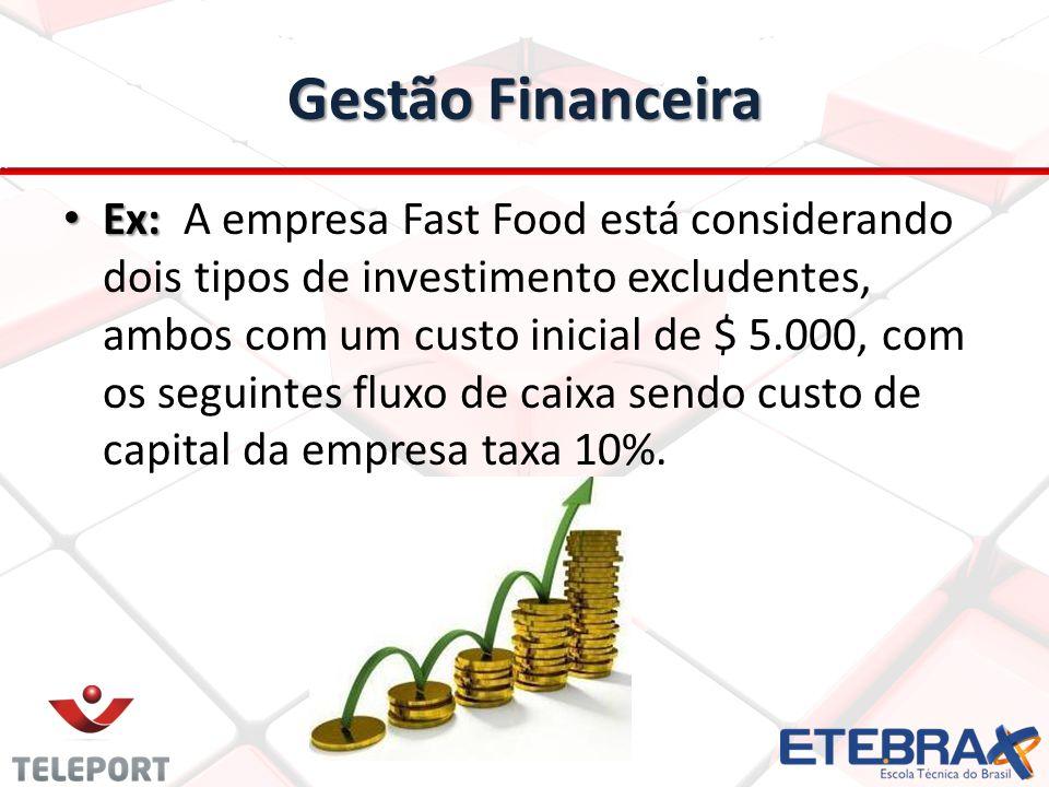 Gestão Financeira Ex: Ex: A empresa Fast Food está considerando dois tipos de investimento excludentes, ambos com um custo inicial de $ 5.000, com os