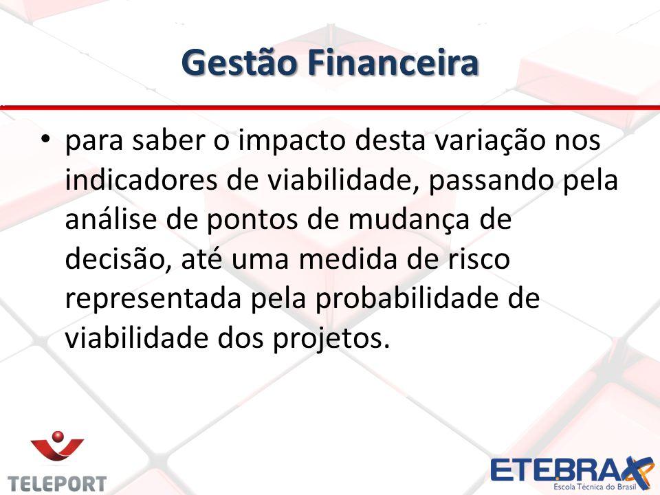 Gestão Financeira para saber o impacto desta variação nos indicadores de viabilidade, passando pela análise de pontos de mudança de decisão, até uma m
