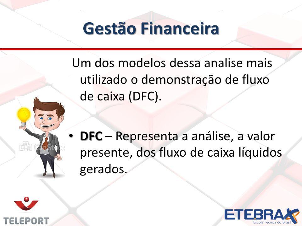Gestão Financeira Um dos modelos dessa analise mais utilizado o demonstração de fluxo de caixa (DFC). DFC DFC – Representa a análise, a valor presente
