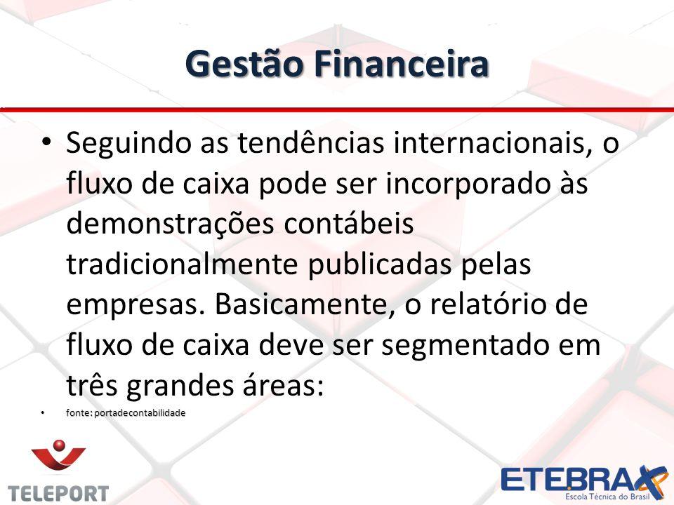Gestão Financeira Seguindo as tendências internacionais, o fluxo de caixa pode ser incorporado às demonstrações contábeis tradicionalmente publicadas