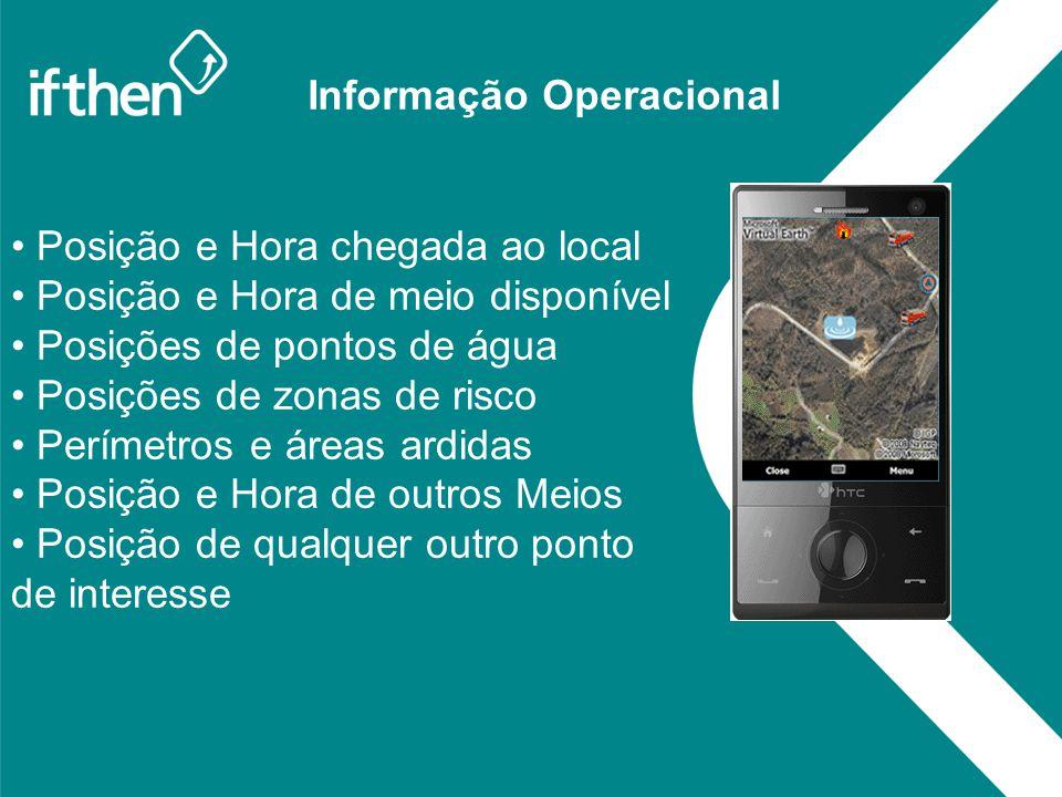 Informação Operacional Posição e Hora chegada ao local Posição e Hora de meio disponível Posições de pontos de água Posições de zonas de risco Perímet
