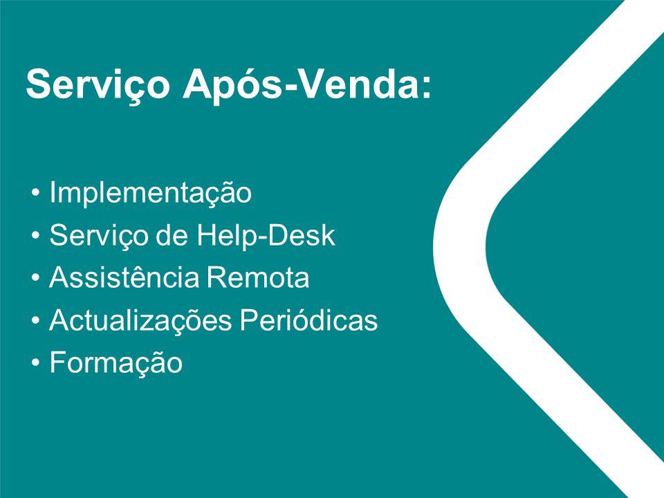 Serviço Após-Venda: Implementação Serviço de Help-Desk Assistência Remota Actualizações Periódicas Formação