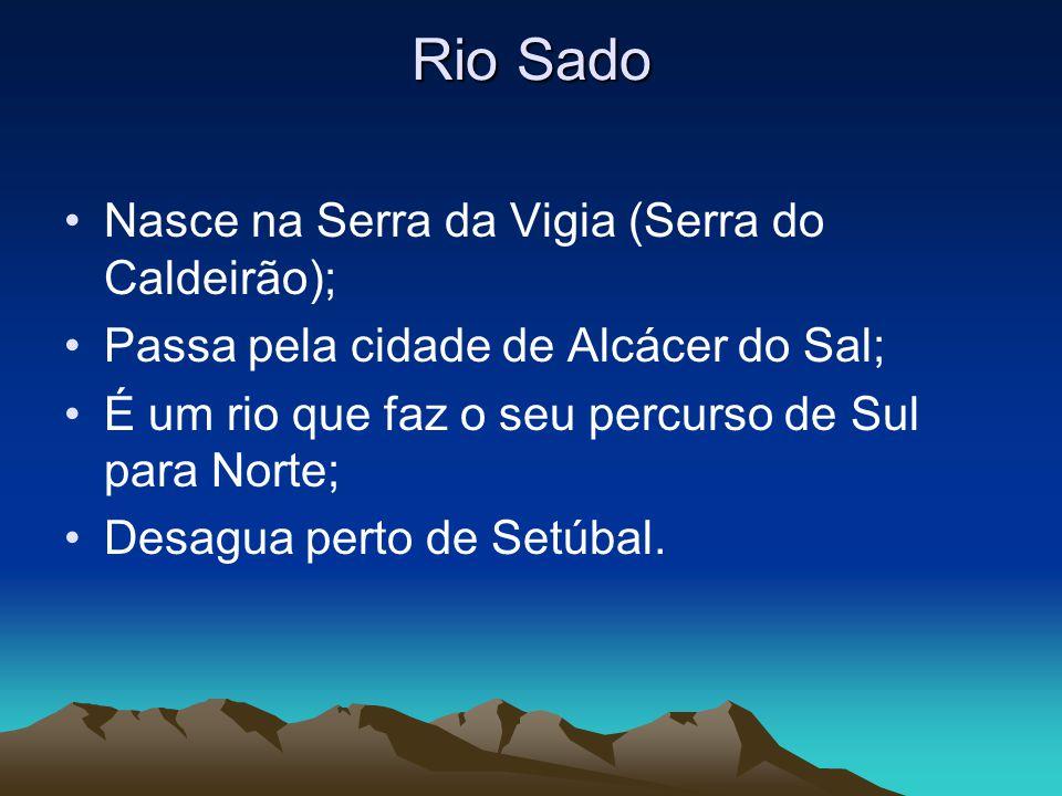Rio Sado Nasce na Serra da Vigia (Serra do Caldeirão); Passa pela cidade de Alcácer do Sal; É um rio que faz o seu percurso de Sul para Norte; Desagua perto de Setúbal.