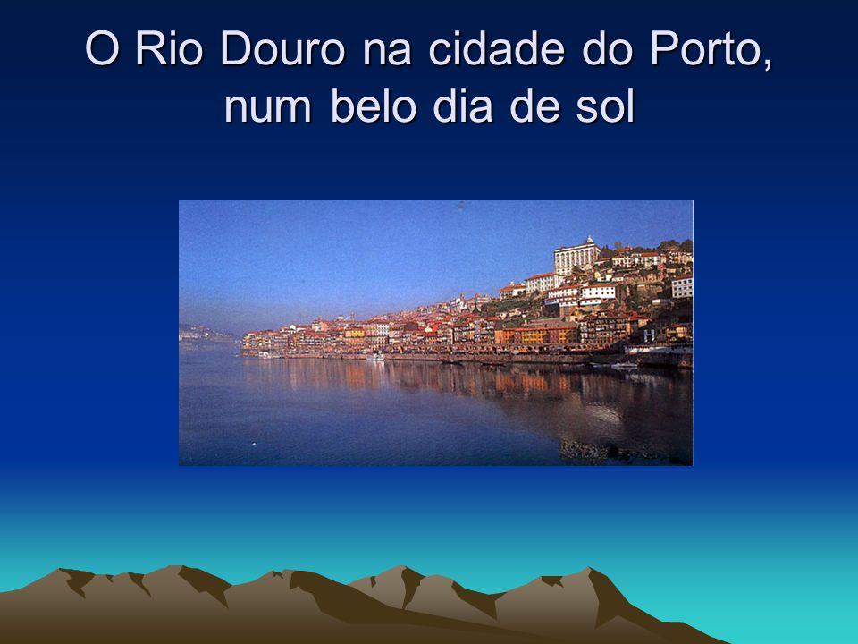 O Rio Douro na cidade do Porto, ao anoitecer.