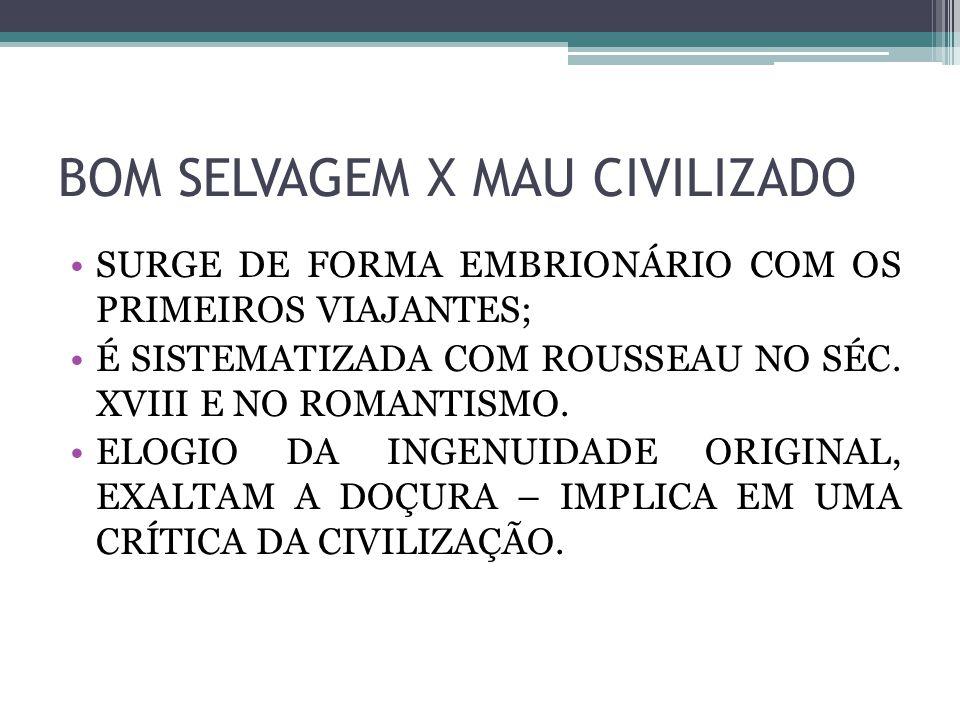 BOM SELVAGEM X MAU CIVILIZADO SURGE DE FORMA EMBRIONÁRIO COM OS PRIMEIROS VIAJANTES; É SISTEMATIZADA COM ROUSSEAU NO SÉC. XVIII E NO ROMANTISMO. ELOGI