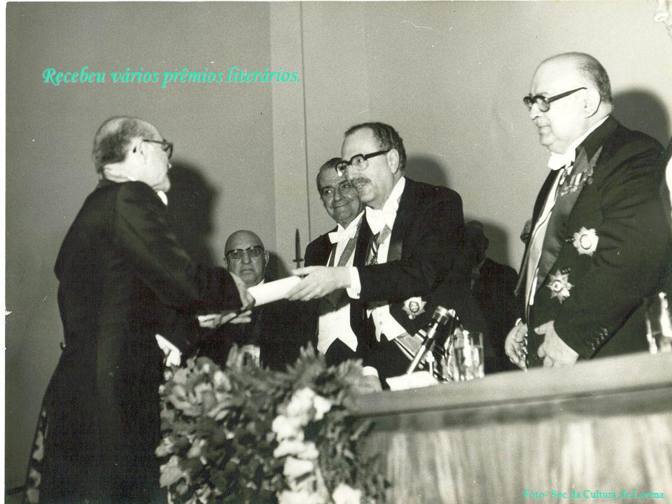 Recebeu vários prêmios literários. Foto- Sec.da Cultura de Lorena