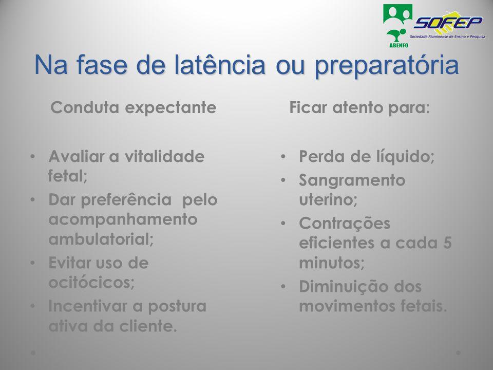 Na fase de latência ou preparatória Conduta expectanteFicar atento para: Avaliar a vitalidade fetal; Dar preferência pelo acompanhamento ambulatorial;