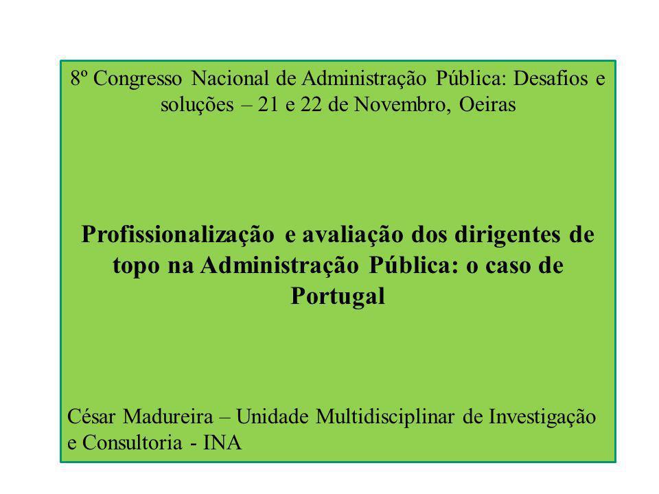 8º Congresso Nacional de Administração Pública: Desafios e soluções – 21 e 22 de Novembro, Oeiras Profissionalização e avaliação dos dirigentes de topo na Administração Pública: o caso de Portugal César Madureira – Unidade Multidisciplinar de Investigação e Consultoria - INA