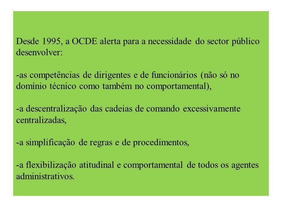 Desde 1995, a OCDE alerta para a necessidade do sector público desenvolver: -as competências de dirigentes e de funcionários (não só no domínio técnico como também no comportamental), -a descentralização das cadeias de comando excessivamente centralizadas, -a simplificação de regras e de procedimentos, -a flexibilização atitudinal e comportamental de todos os agentes administrativos.