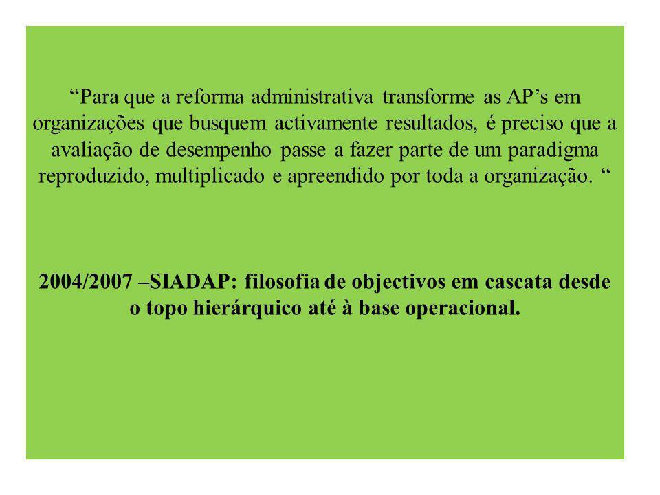 Para que a reforma administrativa transforme as AP's em organizações que busquem activamente resultados, é preciso que a avaliação de desempenho passe a fazer parte de um paradigma reproduzido, multiplicado e apreendido por toda a organização.