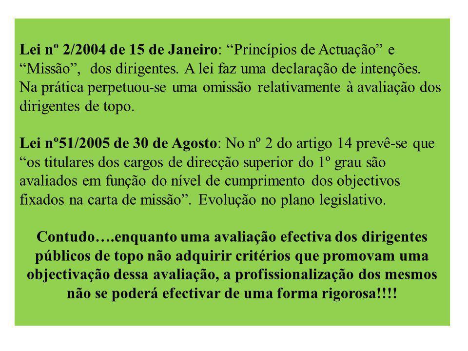 Lei nº 2/2004 de 15 de Janeiro: Princípios de Actuação e Missão , dos dirigentes.