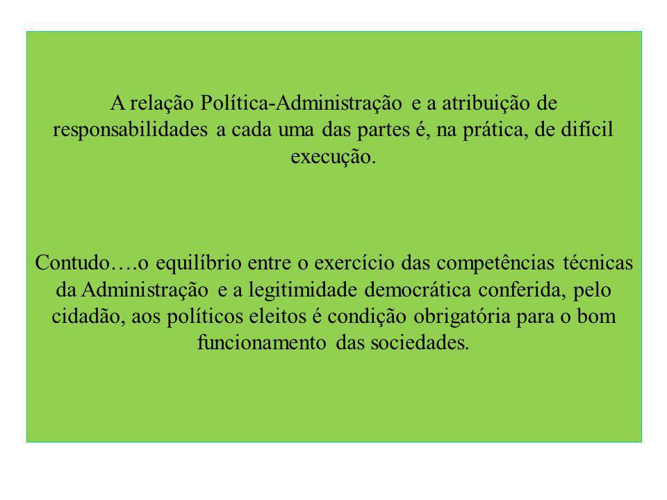 A relação Política-Administração e a atribuição de responsabilidades a cada uma das partes é, na prática, de difícil execução.
