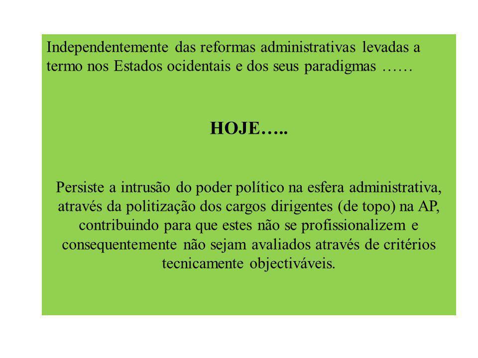 Independentemente das reformas administrativas levadas a termo nos Estados ocidentais e dos seus paradigmas …… HOJE…..