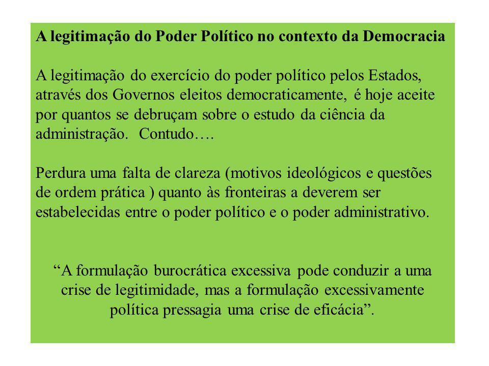 A legitimação do Poder Político no contexto da Democracia A legitimação do exercício do poder político pelos Estados, através dos Governos eleitos democraticamente, é hoje aceite por quantos se debruçam sobre o estudo da ciência da administração.