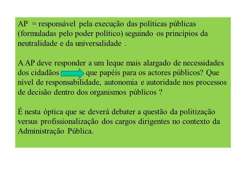 AP = responsável pela execução das políticas públicas (formuladas pelo poder político) seguindo os princípios da neutralidade e da universalidade.