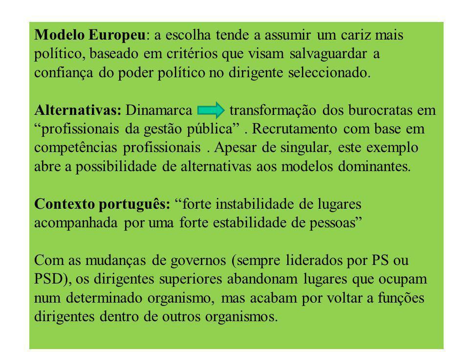 Modelo Europeu: a escolha tende a assumir um cariz mais político, baseado em critérios que visam salvaguardar a confiança do poder político no dirigente seleccionado.