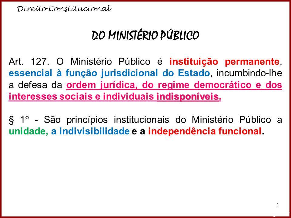 Direito Constitucional Professora Amanda Almozara 1 DO MINISTÉRIO PÚBLICO indisponíveis Art. 127. O Ministério Público é instituição permanente, essen