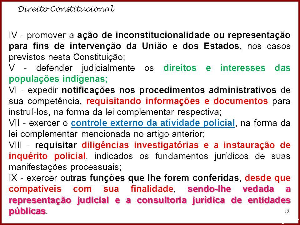 Direito Constitucional Professora Amanda Almozara 10 IV - promover a ação de inconstitucionalidade ou representação para fins de intervenção da União