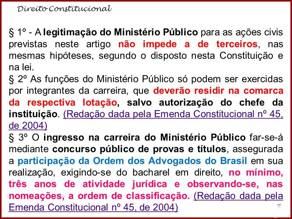 Direito Constitucional Professora Amanda Almozara 11 § 1º - A legitimação do Ministério Público para as ações civis previstas neste artigo não impede