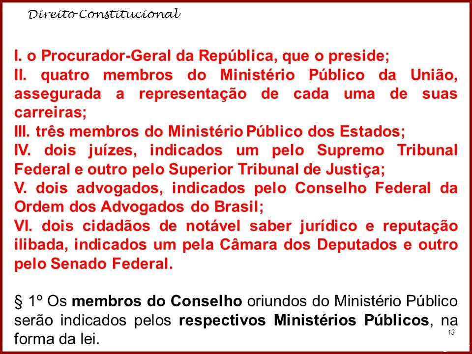Direito Constitucional Professora Amanda Almozara 13 I. o Procurador-Geral da República, que o preside; II. quatro membros do Ministério Público da Un