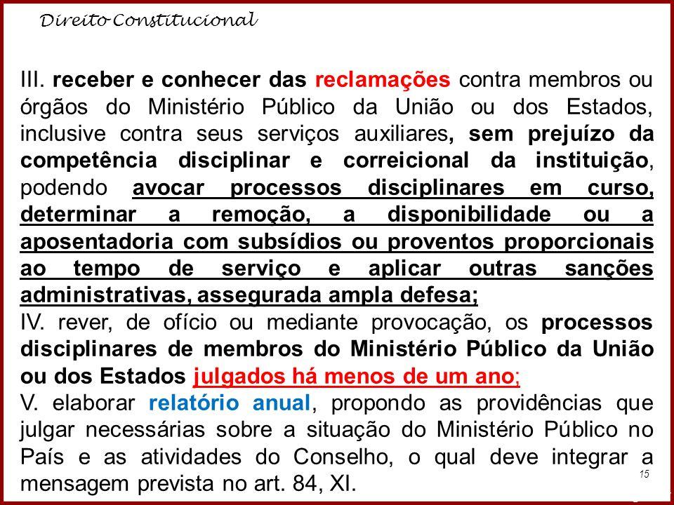 Direito Constitucional Professora Amanda Almozara 15 III. receber e conhecer das reclamações contra membros ou órgãos do Ministério Público da União o