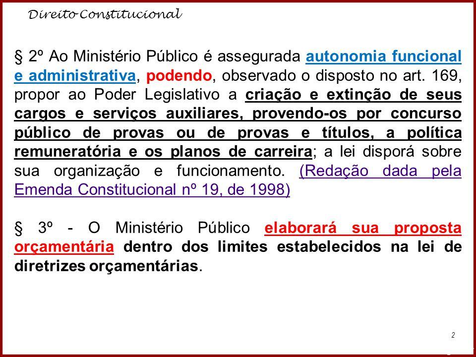 Direito Constitucional Professora Amanda Almozara 2 § 2º Ao Ministério Público é assegurada autonomia funcional e administrativa, podendo, observado o
