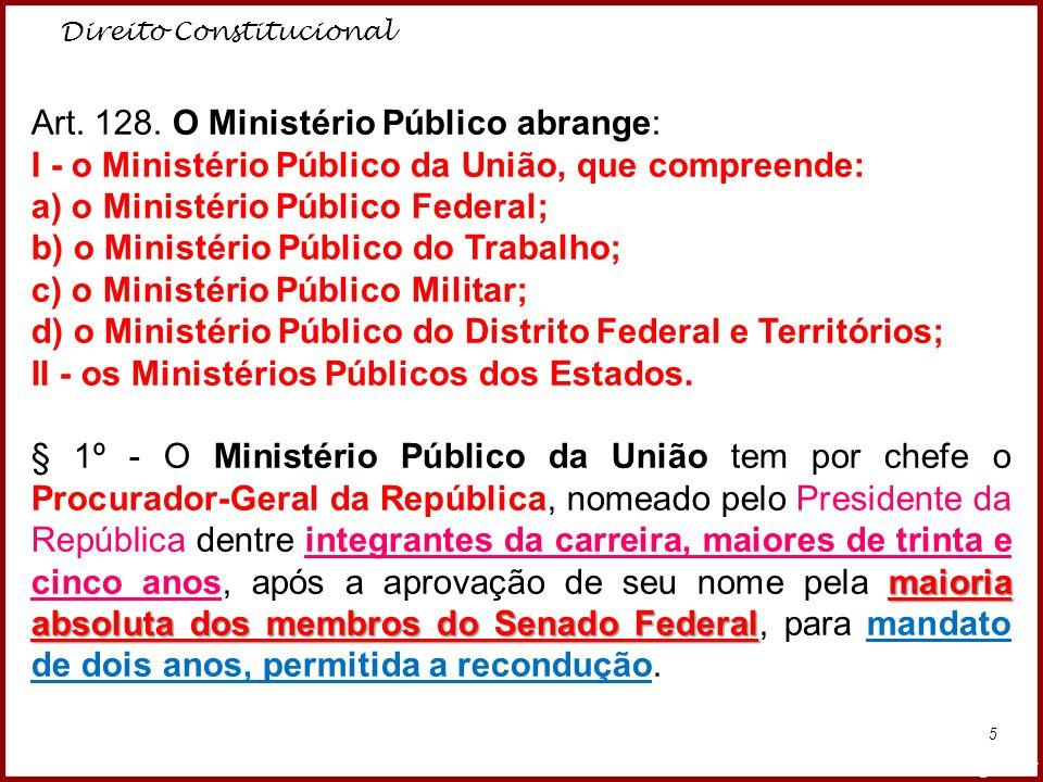 Direito Constitucional Professora Amanda Almozara 5 Art. 128. O Ministério Público abrange: I - o Ministério Público da União, que compreende: a) o Mi