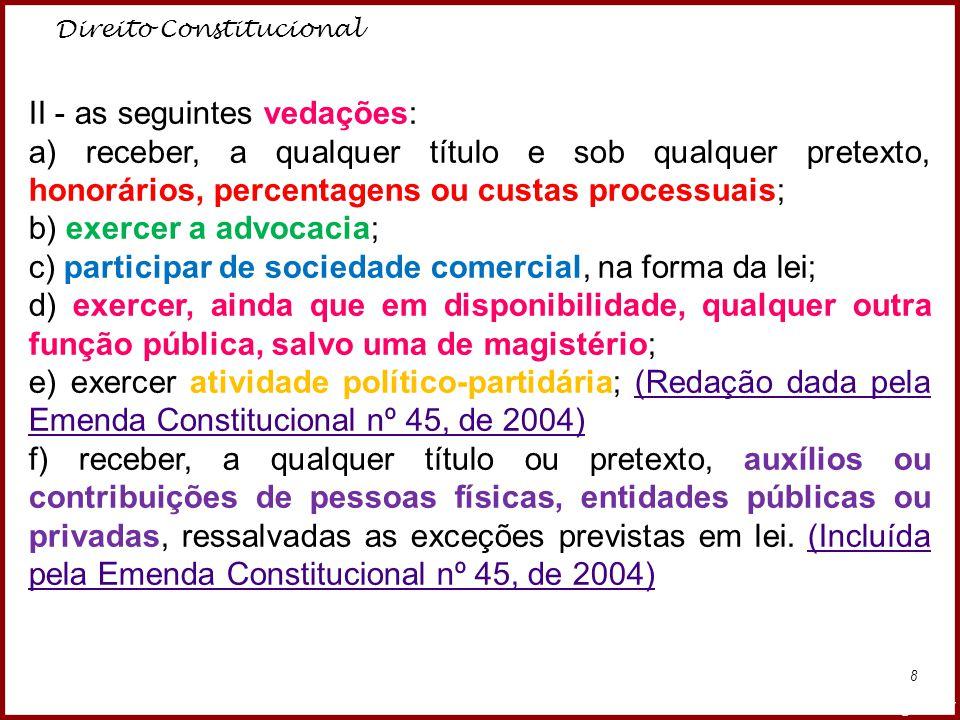 Direito Constitucional Professora Amanda Almozara 8 II - as seguintes vedações: a) receber, a qualquer título e sob qualquer pretexto, honorários, per