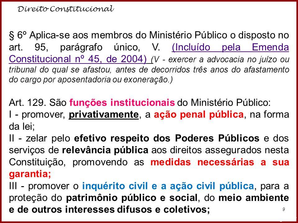 Direito Constitucional Professora Amanda Almozara 9 § 6º Aplica-se aos membros do Ministério Público o disposto no art. 95, parágrafo único, V. (Inclu