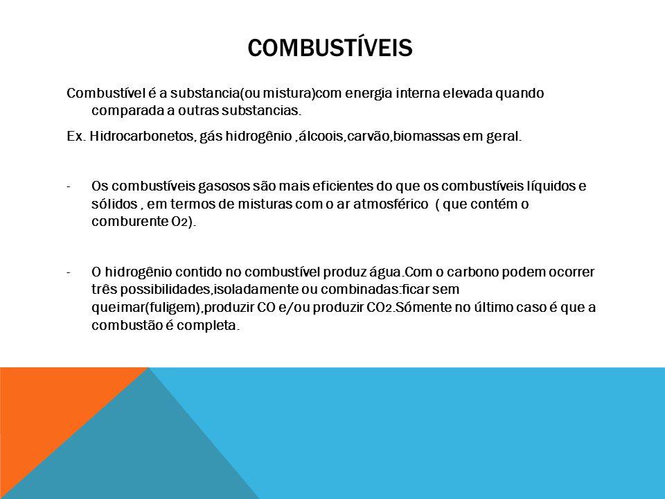 COMBUSTÍVEIS Combustível é a substancia(ou mistura)com energia interna elevada quando comparada a outras substancias. Ex. Hidrocarbonetos, gás hidrogê