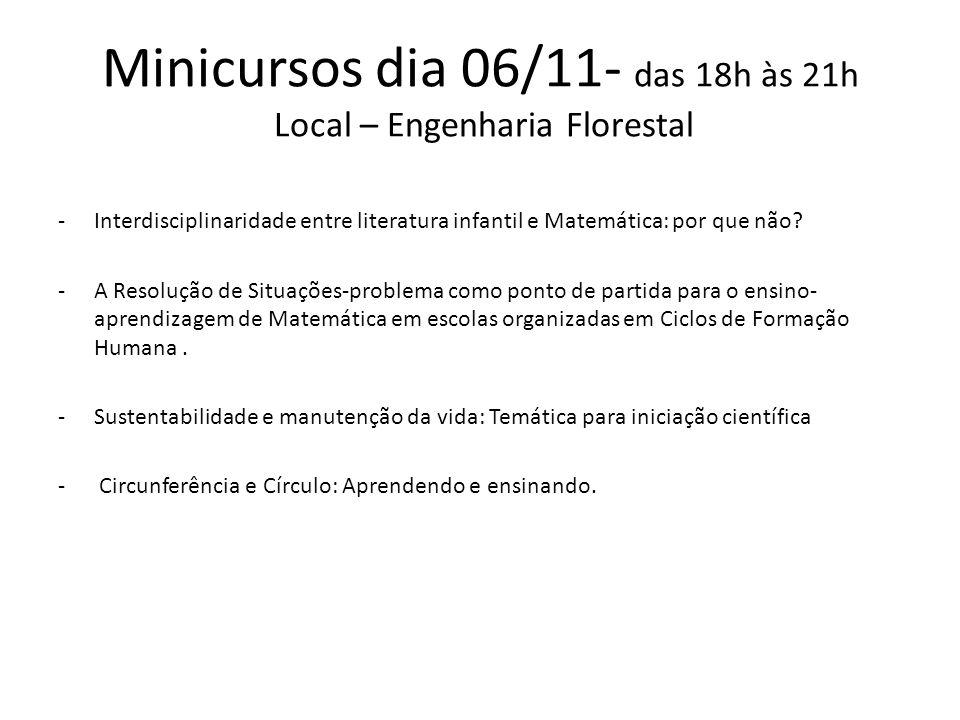 Minicursos dia 06/11- das 18h às 21h Local – Engenharia Florestal -Interdisciplinaridade entre literatura infantil e Matemática: por que não.