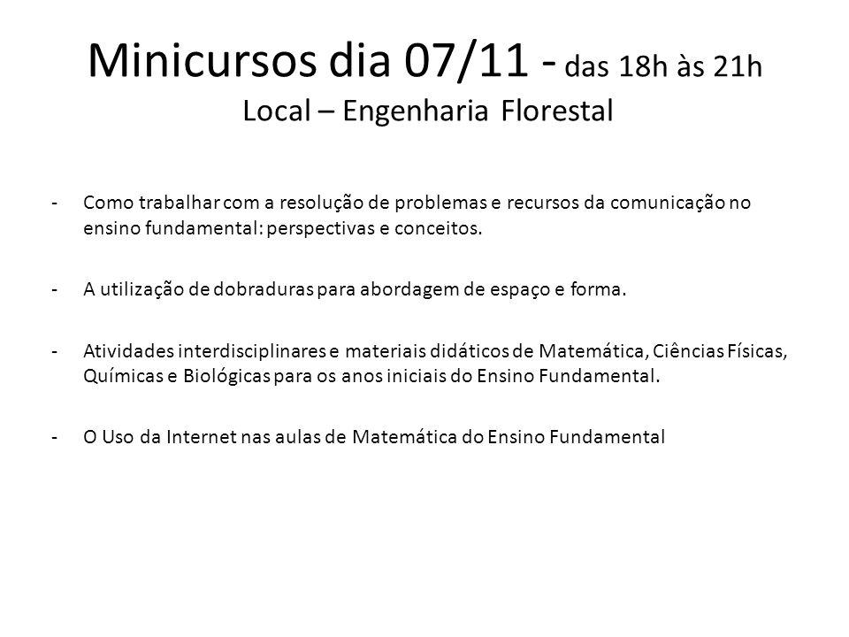 Minicursos dia 07/11 - das 18h às 21h Local – Engenharia Florestal -Como trabalhar com a resolução de problemas e recursos da comunicação no ensino fundamental: perspectivas e conceitos.