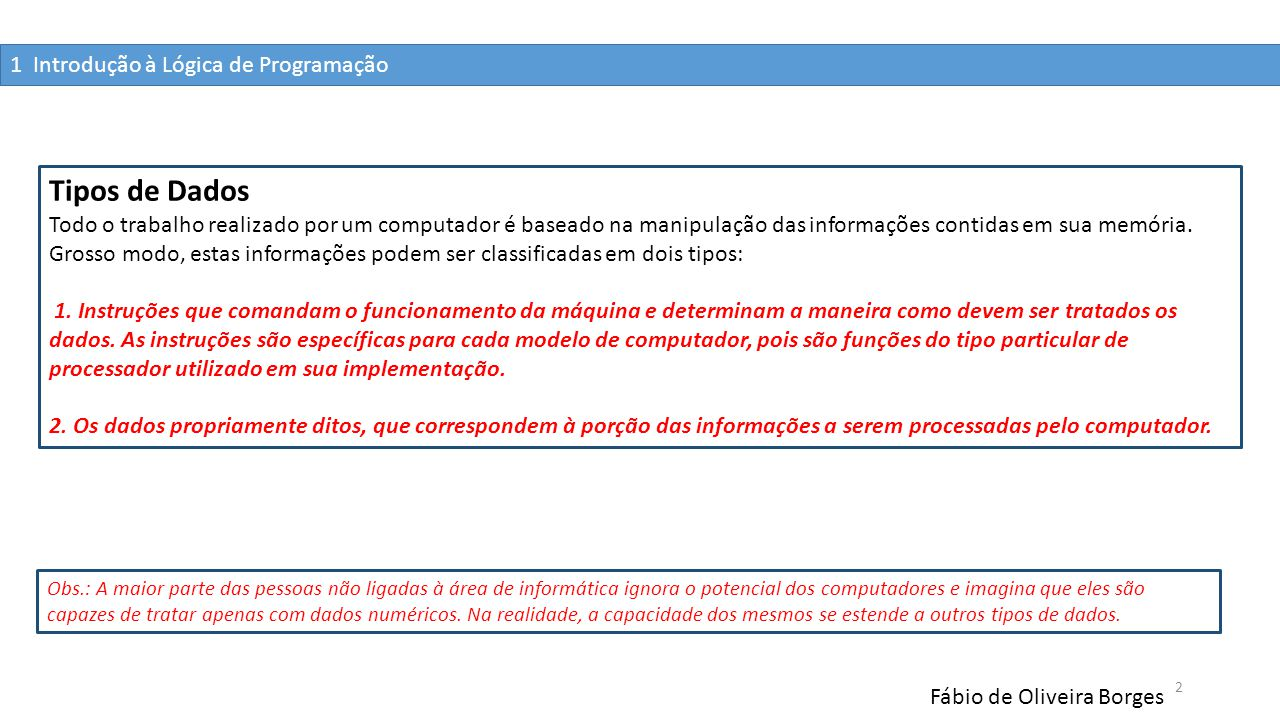 1 Introdução à Lógica de Programação Fábio de Oliveira Borges 2 Tipos de Dados Todo o trabalho realizado por um computador é baseado na manipulação da