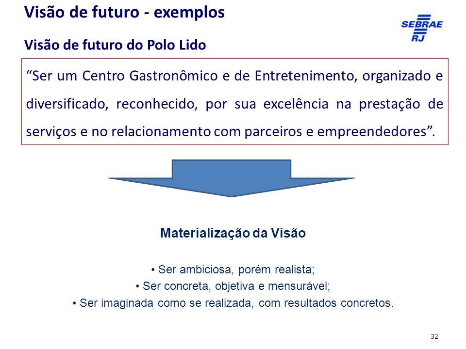 Ser um Centro Gastronômico e de Entretenimento, organizado e diversificado, reconhecido, por sua excelência na prestação de serviços e no relacionamento com parceiros e empreendedores .