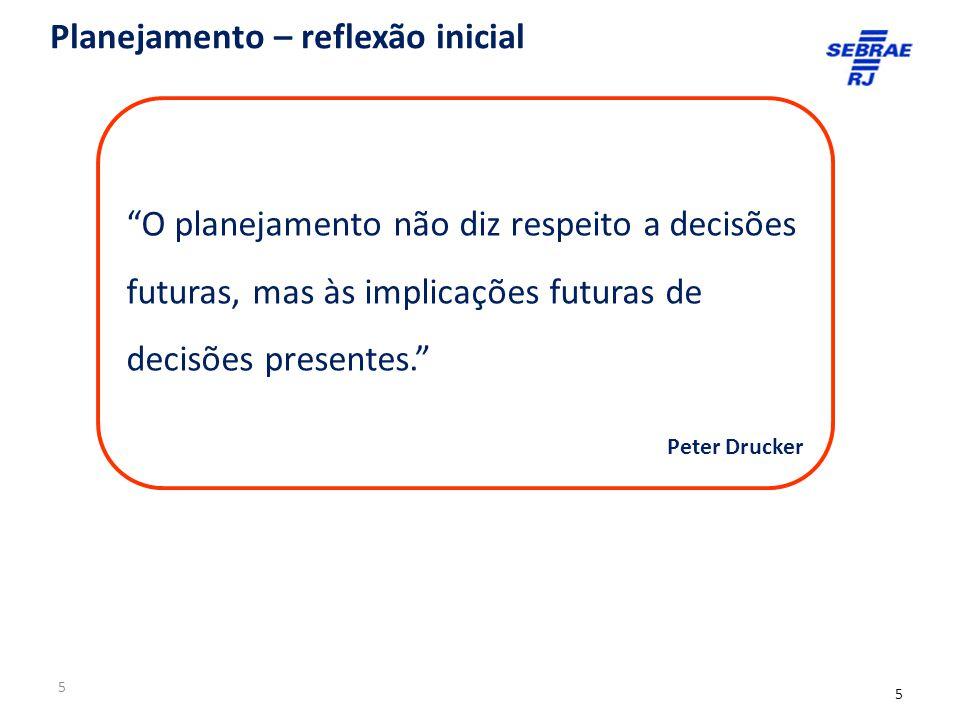 5 O planejamento não diz respeito a decisões futuras, mas às implicações futuras de decisões presentes. Peter Drucker Planejamento – reflexão inicial 5