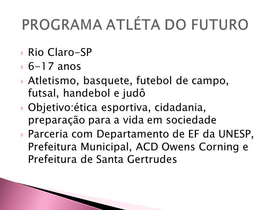  Rio Claro-SP  6-17 anos  Atletismo, basquete, futebol de campo, futsal, handebol e judô  Objetivo:ética esportiva, cidadania, preparação para a v