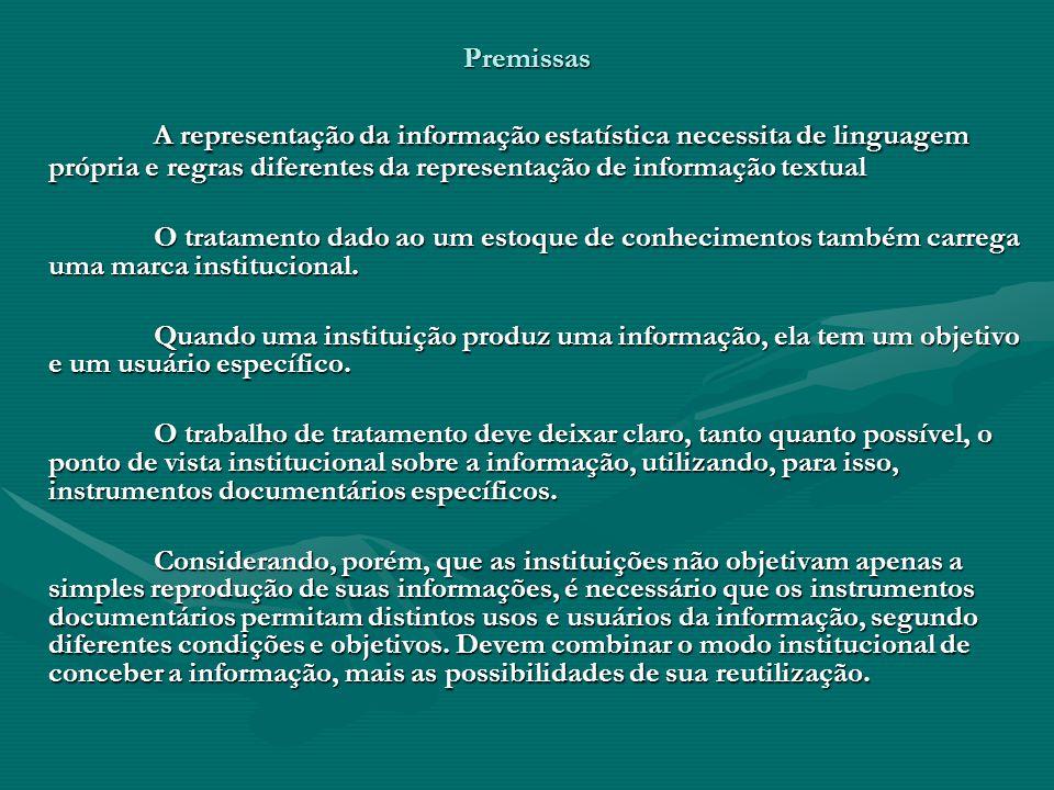 Premissas A representação da informação estatística necessita de linguagem própria e regras diferentes da representação de informação textual O tratamento dado ao um estoque de conhecimentos também carrega uma marca institucional.